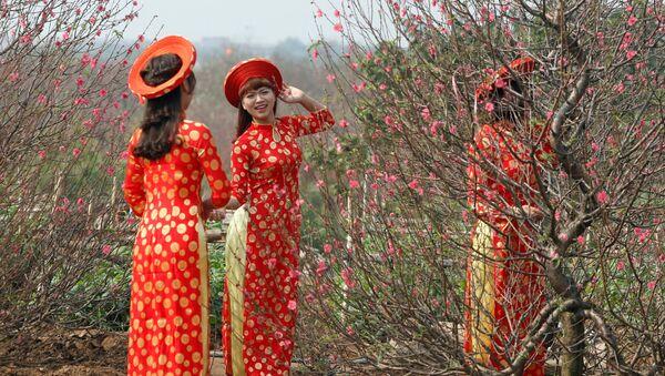 Phụ nữ Việt Nam mặc trang phục truyền thống nhân dịp Tết Nguyên đán - Sputnik Việt Nam