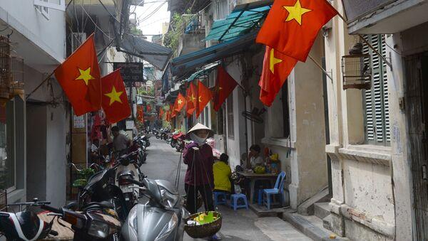 Người phụ nữ  bán hàng rong trên đường phố Hà Nội được trang hoàng nhân ngày lễ quốc gia - Sputnik Việt Nam