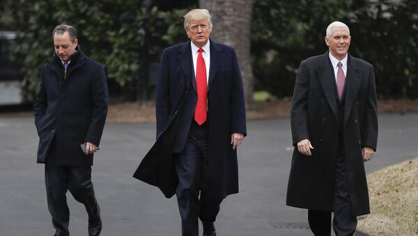 President Donald Trump, Vice President Mike Pence, right, and White House Chief of Staff Reince Priebus, left, walk together on the South Lawn of the White House in Washington to greet Harley Davidson Harley Davidson executives and union representatives - Sputnik Việt Nam