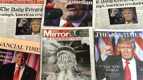 A selection of the front pages of the British national newspapers showing the reaction following Donald Trump's shock US presidential victory in London on November 10, 2016. - Sputnik Việt Nam