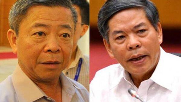 Ông Võ Kim Cự - nguyên Chủ tịch tỉnh Hà Tĩnh và ông Nguyễn Minh Quang - nguyên Bộ trưởng Tài nguyên - Môi trường - Sputnik Việt Nam