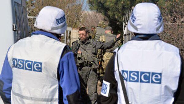 Наблюдатели ОБСЕ говорят с украинском военнослужащим - Sputnik Việt Nam