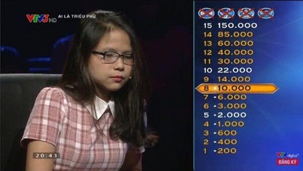 Người chơi Nguyễn Hải Yến đến từ Đà Nẵng đã sử dụng đến 3 sự trợ giúp để vượt qua 5 câu hỏi đầu tiên trong chương trình được phát sóng tối ngày 28/2. - Sputnik Việt Nam