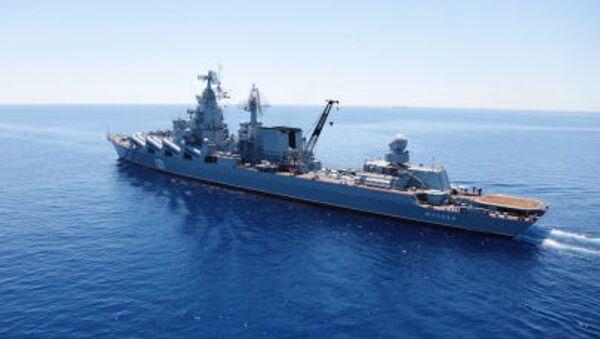 """Tuần dương hạm tên lửa """"Matxcơva"""" trong thời gian cuộc tập trận chung Nga –Trung """"Hợp tác trên biển – 2015"""" ở Địa Trung Hải. - Sputnik Việt Nam"""