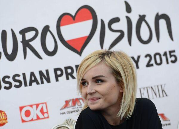 Ca sĩ Polina Gagarina (Nga) tại buổi họp báo của thí sinh Eurovision 2015 - Sputnik Việt Nam
