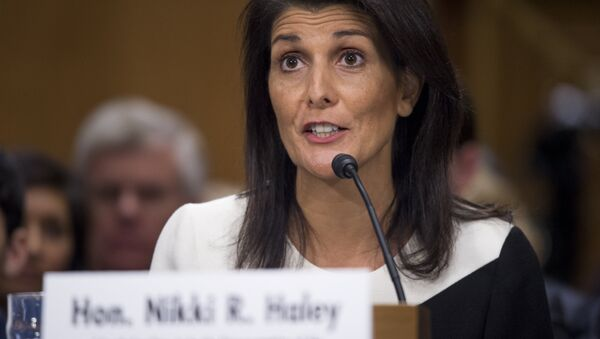 South Carolina Governor Nikki Haley testifies during her confirmation hearing for US Ambassador to the United Nations (UN) before the Senate Foreign Relations committee on Capitol Hill in Washington, DC - Sputnik Việt Nam