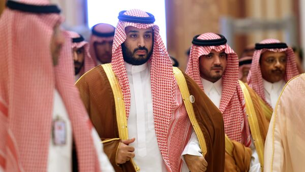Saudi Defence Minister Mohammed bin Salman (2nd L), who is the desert kingdom's deputy crown prince and second-in-line to the throne, arrives at the closing session of the 4th Summit of Arab States and South American countries held in the Saudi capital Riyadh, on November 11, 2015 - Sputnik Việt Nam