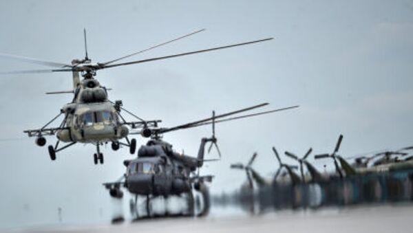 Máy bay trực thăng Mi-8 tại vòng quốc gia cuộc thi quốc tế Aviadarts-2015 - Sputnik Việt Nam