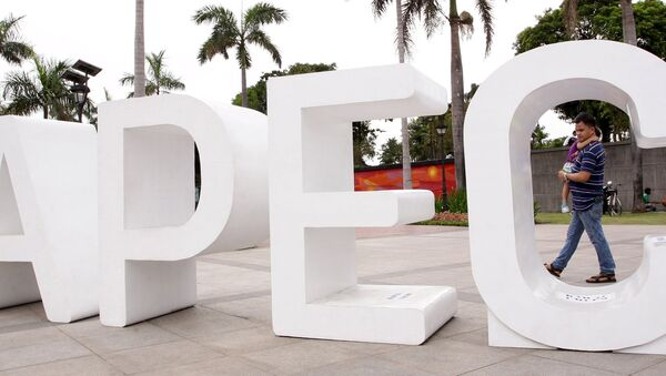 A resident carries his child past an Asia-Pacific Economic Cooperation (APEC) sign in Manila's Rizal park, where the APEC summit will be held next week, in Manila November 15, 2015 - Sputnik Việt Nam
