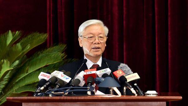 Tổng bí thư Nguyễn Phú Trọng phát biểu bế mạc Hội nghị. - Sputnik Việt Nam