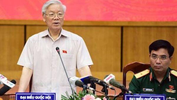 Tổng bí thư Nguyễn Phú Trọng phát biểu tại cuộc tiếp xúc cử tri. - Sputnik Việt Nam