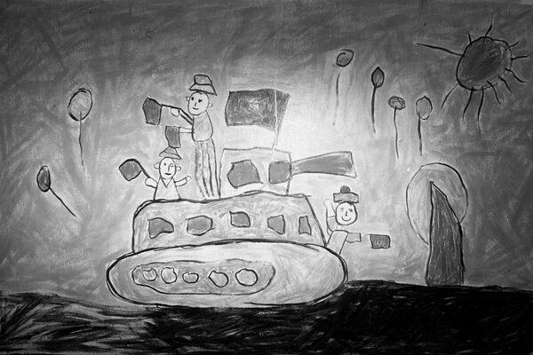 Bức vẽ của trẻ em mô tả cuộc tấn công của xe tăng vào Dinh Độc lập năm 1975 - Sputnik Việt Nam