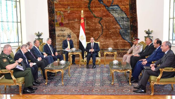 Tổng thống Ai Cập Abdel Fattah al-Sisi gặp ngoại trưởng và bộ trưởng quốc phòng Nga và Ai Cập - Sputnik Việt Nam