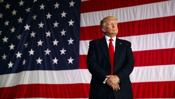 Президент США Дональд Трамп на фоне американского флага - Sputnik Việt Nam