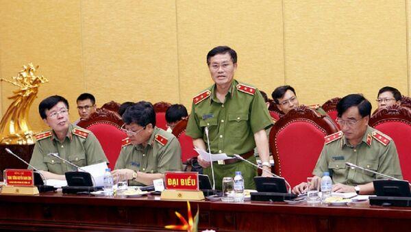 Trung tướng Đỗ Kim Tuyến thông tin tại buổi họp báo Bộ Công an sáng 28/6 - Sputnik Việt Nam