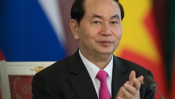 Chủ tịch CHXHCN Việt Nam Trần Đại Quang trong cuộc họp báo về kết quả hội đàm Nga-Việt. - Sputnik Việt Nam