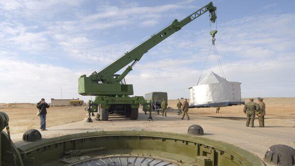 Lực lượng tên lửa chiến lược Nga của sân bay vũ trụ Baikonur tại bãi thử №175 trước khi phóng tên lửa liên lục địa RS-18 Stilet - Sputnik Việt Nam