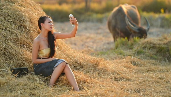 Cô gái chụp ảnh tự sướng bên đống cỏ khô - Sputnik Việt Nam