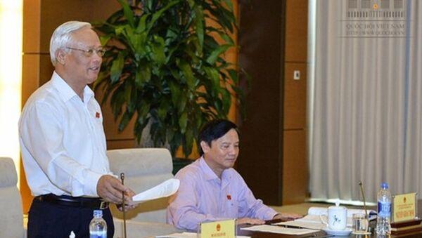 Phó chủ tịch Quốc hội - Trưởng đoàn giám sát Uông Chu Lưu phát biểu tại buổi làm việc với Chính phủ. - Sputnik Việt Nam