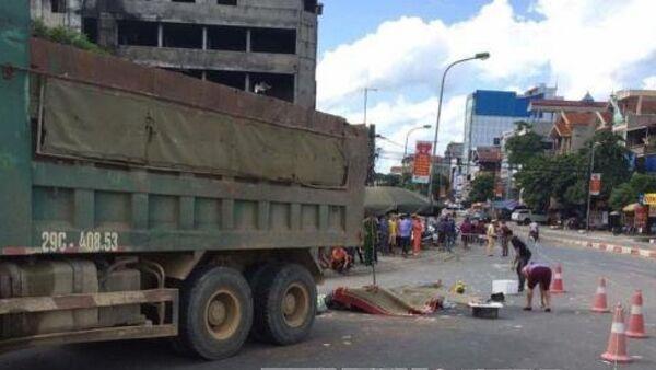 Hiện trường vụ tai nạn giao thông tại khu vực ngã tư Xuân Mai. Ảnh: TTXVN phát - Sputnik Việt Nam