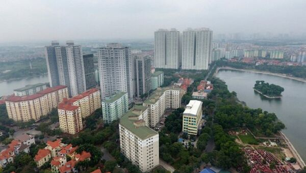 Chung cư VP3 và VP5 ( có chủ đầu tư là Tập đoàn Mường Thanh) cao nổi bật khu vực trung tâm KĐT Linh Đàm phá vỡ quy hoạch về cảnh quan kiến trúc. - Sputnik Việt Nam