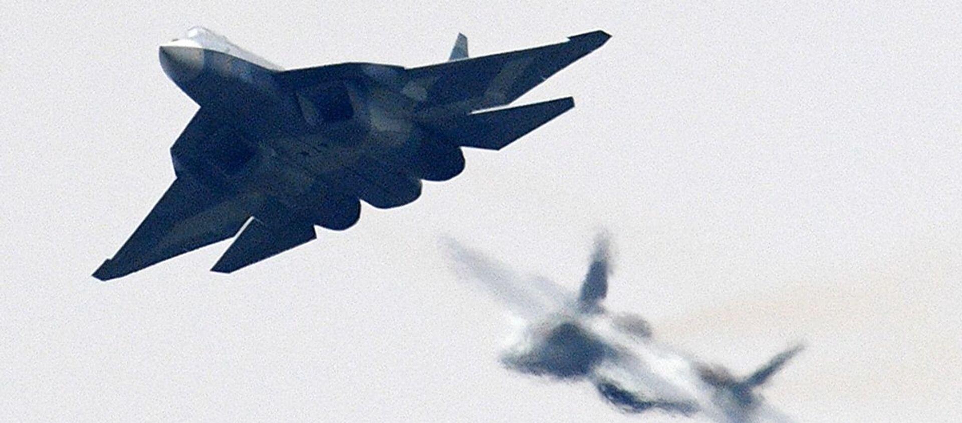 Máy bay chiến đấu thế hệ thứ năm đa chức năng T-50 của Nga tại Triển lãm Hàng không và Vũ trụ Quốc tế MAKS-2017 ở Zhukovsky - Sputnik Việt Nam, 1920, 25.03.2021