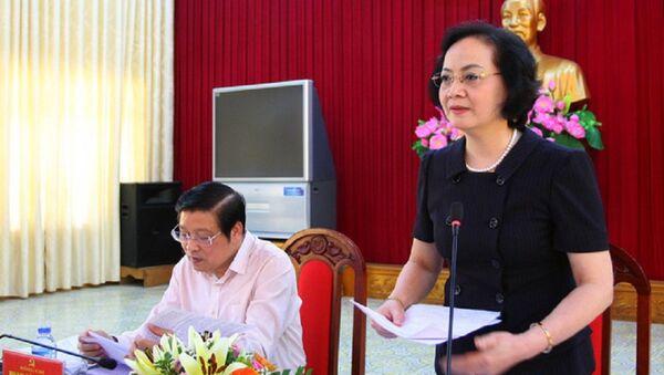 Bà Phạm Thị Thanh Trà, Bí thư Tỉnh ủy, Chủ tịch HĐND tỉnh Yên Bái, phát biểu tại Hội nghị. Ảnh: Thế Duyệt - Sputnik Việt Nam