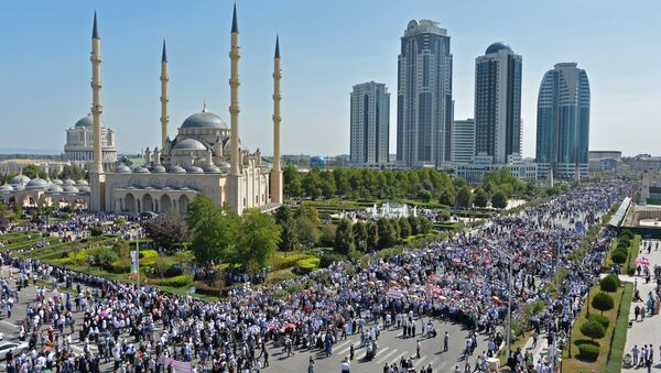 Mit-tinh ở trung tâm Grozny để bày tỏ sự ủng hộ với các tín đồ Hồi giáo Rohingya - Sputnik Việt Nam