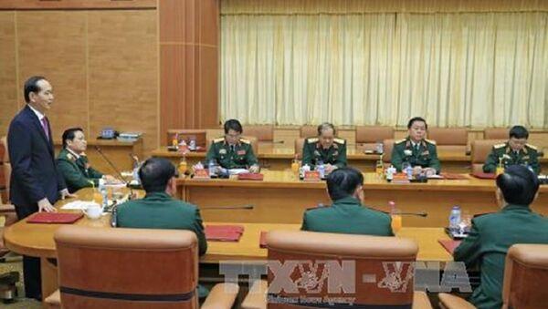 Chủ tịch Nước Trần Đại Quang làm việc với lãnh đạo Bộ Quốc phòng - Sputnik Việt Nam