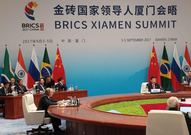 Tổng thống Nga Vladimir Putin trong cuộc gặp của các nhà lãnh đạo BRICS