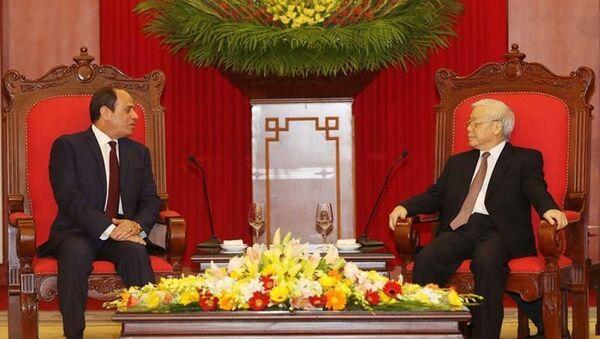 Tổng Bí thư Nguyễn Phú Trọng tiếp Tổng thống Cộng hòa Ai Cập Abdel Fattah Al Sisi thăm cấp nhà nước Việt Nam. - Sputnik Việt Nam