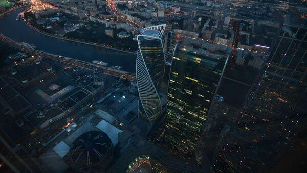 """Quang cảnh từ tầng 89 của Tháp Liên bang-Đông của khu Moscow City, nơi mà đài quan sát cao nhất Châu Âu""""PANORAMA-360"""" đang được xây dựng - Sputnik Việt Nam"""