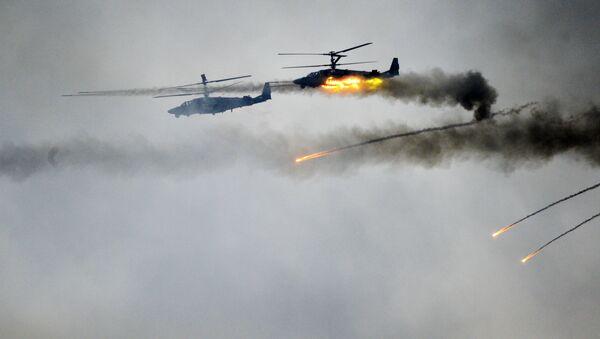 Trực thăng Ka-52 trong tập trận chung chiến lược Phía Tây-2017 của lực lượng vũ trang Cộng hòa Belarus và Liên bang Nga  - Sputnik Việt Nam