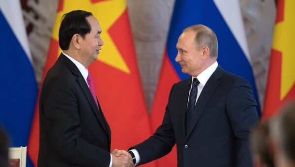 Cuộc hội đàm giữa hai nhà lãnh đạo Vladimir Putin và Trần Đại Quang trong điện Kremlin - Sputnik Việt Nam
