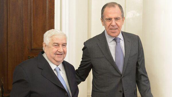 Ngoại trưởng Syria Walid Muallem và Ngoại trưởng Nga Sergei Lavrov - Sputnik Việt Nam
