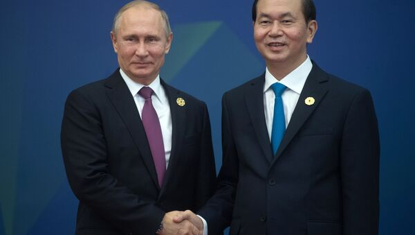 Tổng thống Nga Vladimir Putin và Chủ tịch Việt Nam Trần Đại Quang - Sputnik Việt Nam