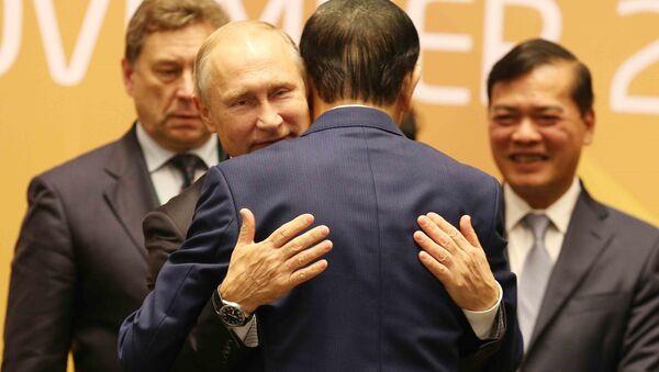 Tổng thống Nga Vladimir Putin và Chủ tịch nước Trần Đại Quang tại phiên bế mạc - Sputnik Việt Nam
