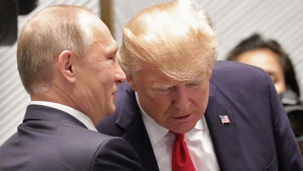 Russian President Vladimir Putin and US President Donald Trump, right, are seen here ahead of the first working meeting of the Asia-Pacific Economic Cooperation leaders - Sputnik Việt Nam