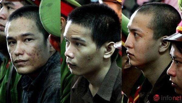 Ba bị cáo trong vụ án, Nguyễn Hải Dương ngoài cùng bên phải. - Sputnik Việt Nam