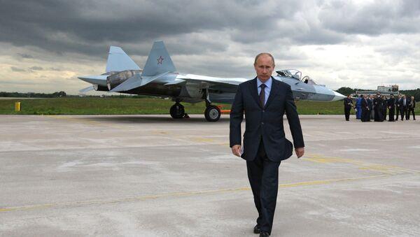 Prime Minister Vladimir Putin at the test if a T-50 fifth generation fighter - Sputnik Việt Nam