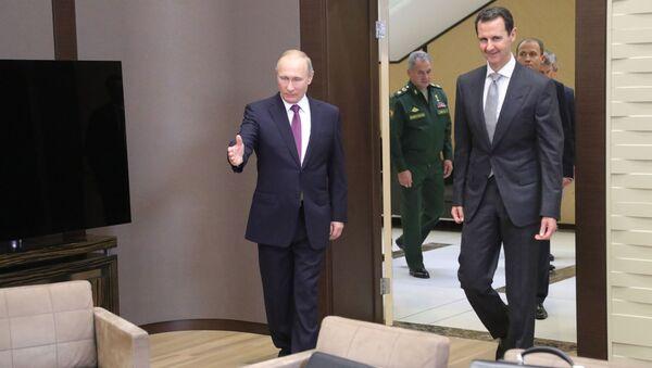 Ngày 20/11, Tổng thống Liên bang Nga Vladimir Putin đã hội đàm với Tổng thống Syria Bashar Assad, đang ở thăm và làm việc tại Nga - Sputnik Việt Nam