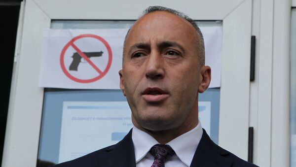 Ramush Haradinaj, candidate for Prime Minister, of the coalition of the former Kosovo Liberation Army (KLA) commanders AAK, PDK and NISMA speaks before the press during the Parliamentary elections in Pristina, Kosovo June 11, 2017.  - Sputnik Việt Nam