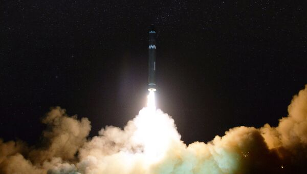 A view of the newly developed intercontinental ballistic rocket Hwasong-15's test that was successfully launched is seen in this undated photo released by North Korea's Korean Central News Agency (KCNA) in Pyongyang November 30, 2017 - Sputnik Việt Nam