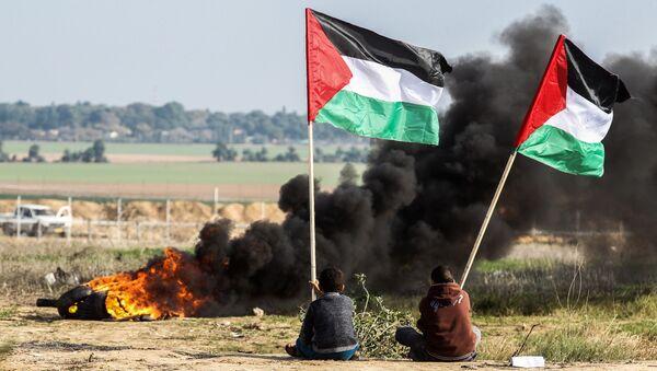 Người biểu tình Palestine mang lá cờ quốc gia ở ranh giới giữa Israel và Dải Gaza. - Sputnik Việt Nam