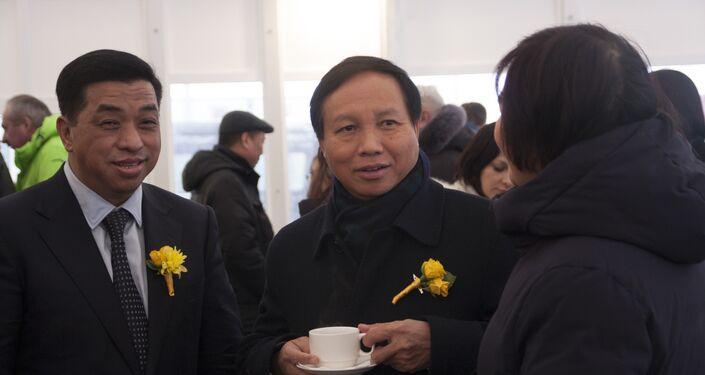 Đại sứ Việt Nam tại Liên bang Nga Ngô Đức Mạnh tại lễ khai trương tổ hợp chăn nuôi bò sữa do TH True Milk xây dựng ở quận Volokolamsky, Moskva.