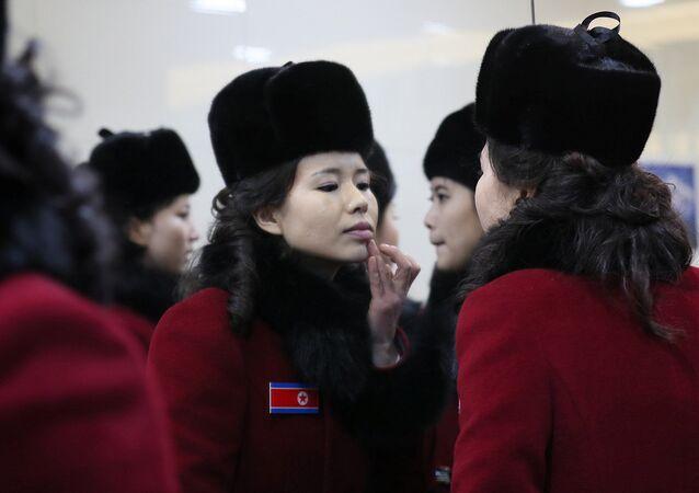 Nữ cổ động viên của Bắc Triều Tiên đến Thế vận hội Mùa đông 2018 tại Hàn Quốc.