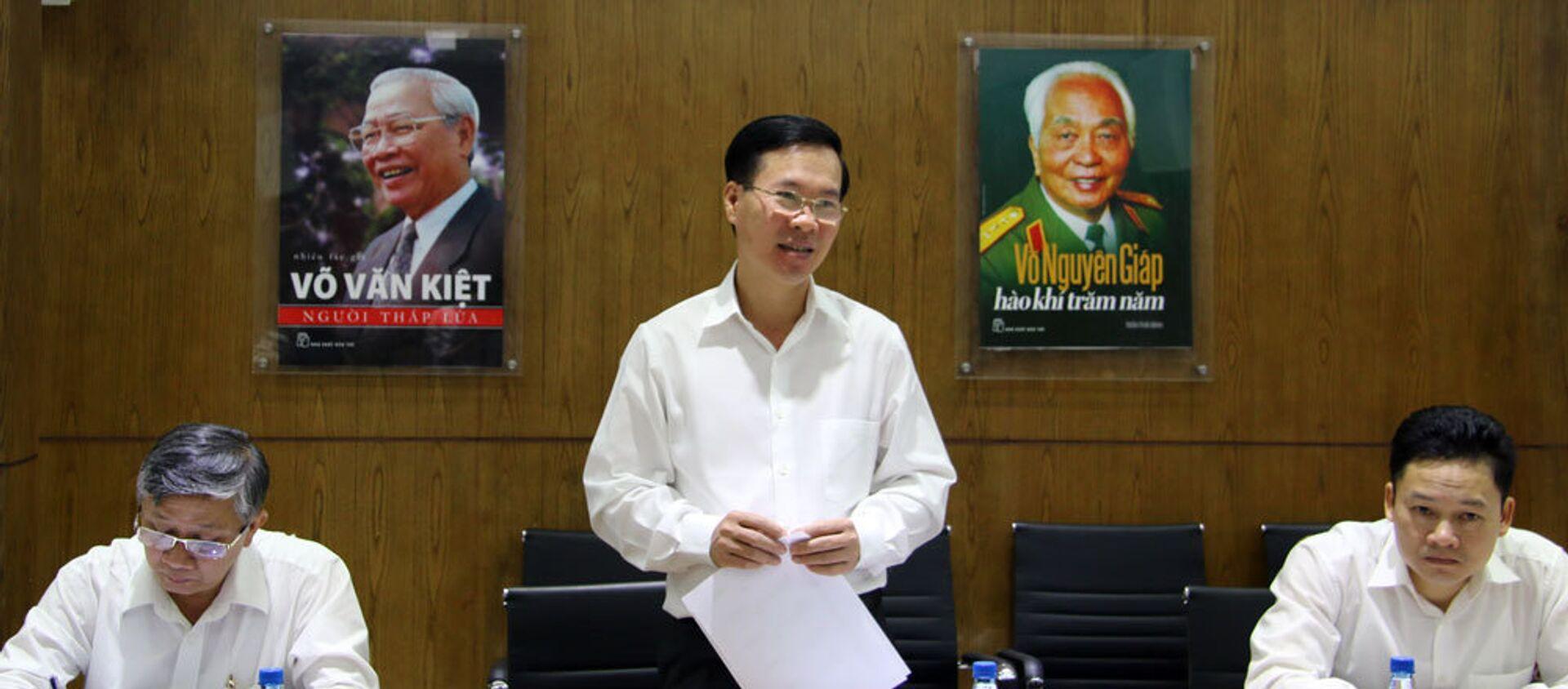 Ông Võ Văn Thưởng, Ủy viên Bộ Chính trị, Bí thư TƯ Đảng, Trưởng ban Tuyên giáo TƯ làm việc với Nhà xuất bản Trẻ - Sputnik Việt Nam, 1920, 09.02.2018