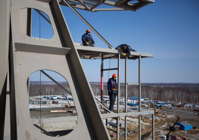 Công trình xây dựng sân bay vũ trụ Vostochny ở tỉnh Amurskaya