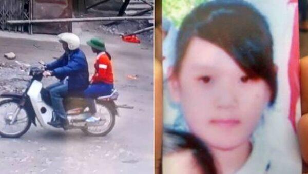 Camera gần nhà Mai có ghi được hình ảnh lúc 13h40, M. ngồi trên xe một người đàn ông lạ mặt đi theo hướng xã Chính Lý. - Sputnik Việt Nam