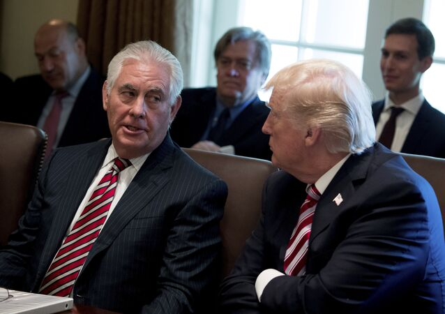 Secretary of State Rex Tillerson speaks with President Donald Trump during a Cabinet meeting, Monday, June 12, 2017, in the Cabinet Room of the White House